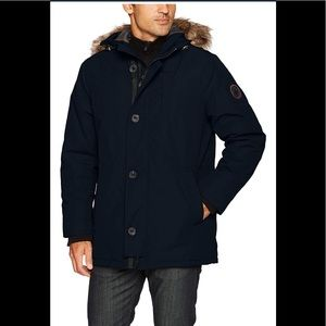 HFX Parka Jacket Removable Faux Fur Hood Navy,NWT